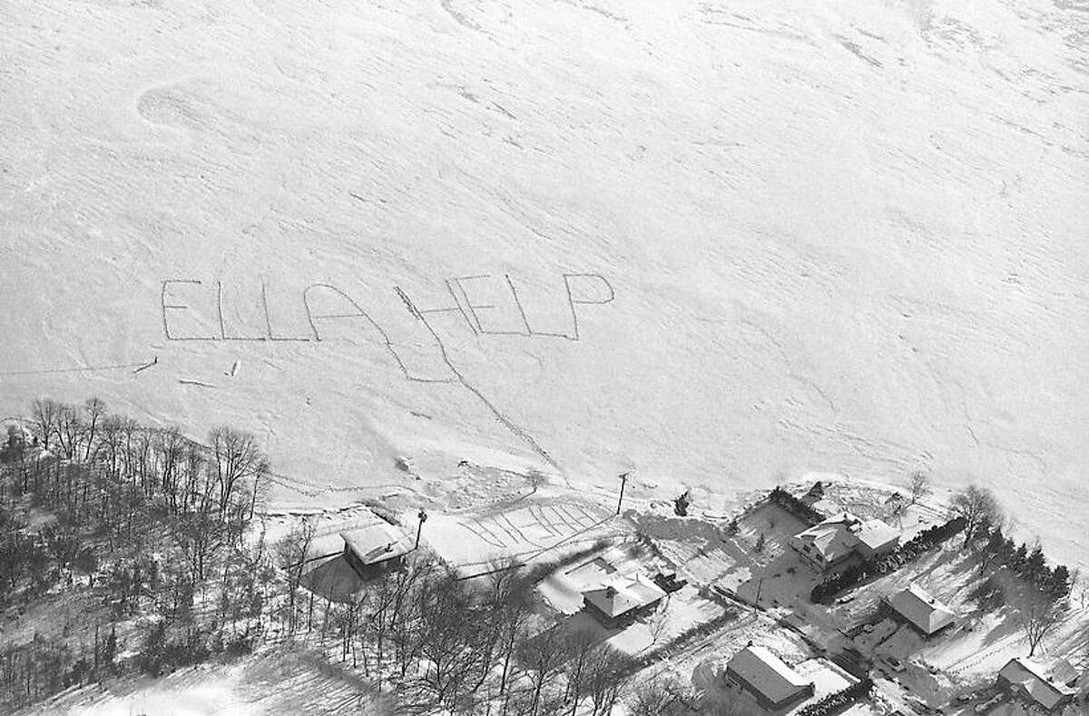 This message was dug out in the snow on the surface of a lake in Montville, Connecticut, Feb. 8, 1978. It asked for Gov. Ella T. Grasso's help in the state's snow emergency. The author of the message was unknown, but it got across to the governor who saw it as she flew over the lake on a helicopter tour of eastern Connecticut. (AP Photo/Bob Child)
