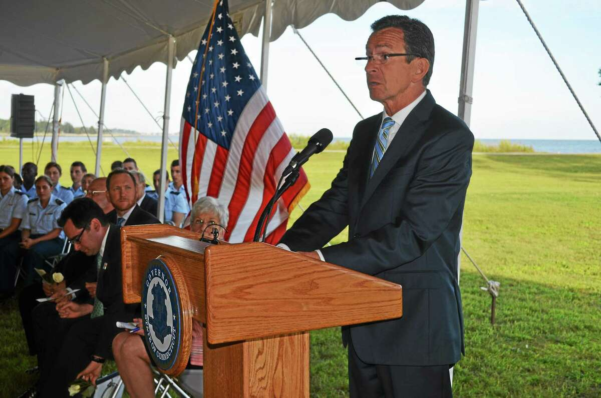 Gov. Dannel P. Malloy speaks at the 9/11 remembrance ceremoney Wednesday at Sherwood Island State Park in Westport.