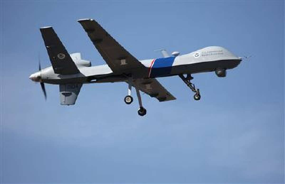 An unmanned drone is used to patrol the U.S.-Canadian border.