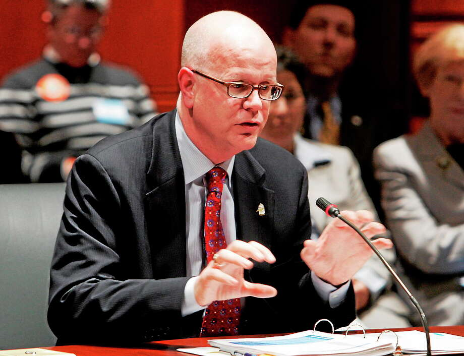 Connecticut Comptroller Kevin Lembo. In this March 12, 2009 photo Lembo, who was the state state health advocate at the time, testifies before the state legislature's Executive and Legislative Nominations Committee. Photo: AP Photo/Bob Child