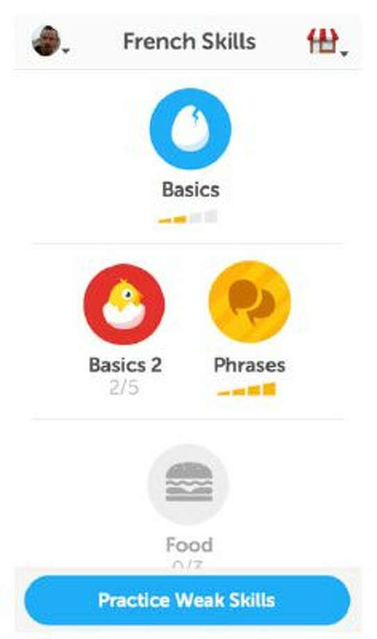 A screenshot of the Duolingo app for iPhone is shown. Duolingo offers basic lessons in Spanish, German, French, Italian and Portuguese languages. / itunes.apple.com