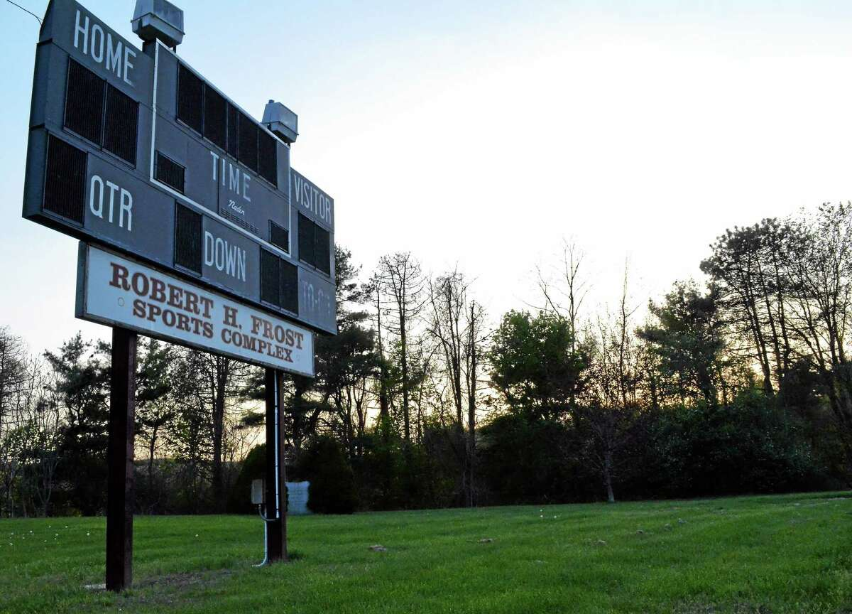 The Torrington High School scoreboard, as seen Tuesday night, after the Board of Education rejected a request to loan money to the turf committee, forcing a planned project for $2.7 million in planned facility improvements for the sports complex to go back out to bid.