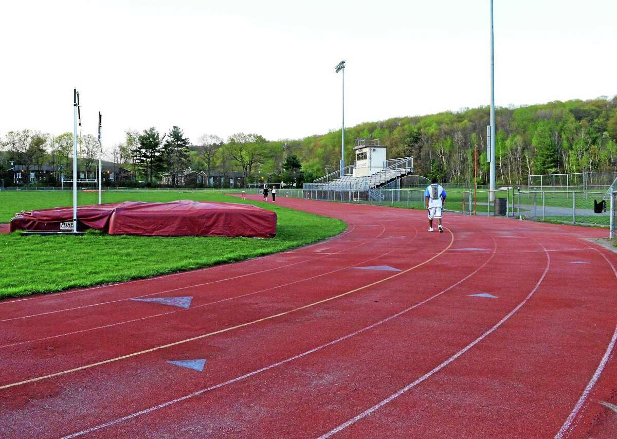 The track and field at Torrington High School, where $2.7 million in planned facility improvements were delayed after the Board of Education rejected a request to loan money to the turf committee to move the project forward.