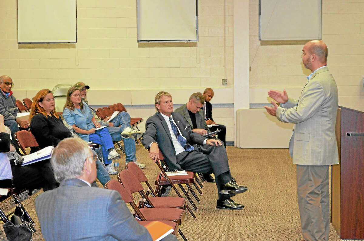 Demian Fontanella of the Office of the Healthcare Advocate led an informational discussion and answered people's questions on the Federal Affordable Care Act Wednesday at the Ann Antolini School.