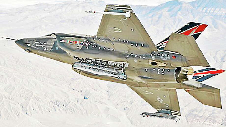 Photo from CTMirror.org The stealth F-35, whose engines are built by Pratt & Whitney, got full funding in the federal budget. Other winners in Connecticut's defense industry were Sikorsky Aircraft and Electric Boat. Photo: Journal Register Co.