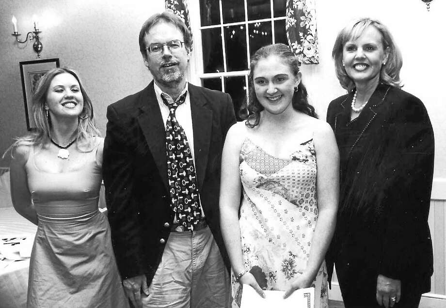 (L-R) 2001 CT Young Writers State Prose Champion Candi Deschamps, WNPR host Colin McEnroe, 2003 State Prose Champion Lauren Hefferon and author Diane Smith at the Litchfield Inn, June 2003. -India Blue photo via CT Young Writers Trust. Photo: Journal Register Co.