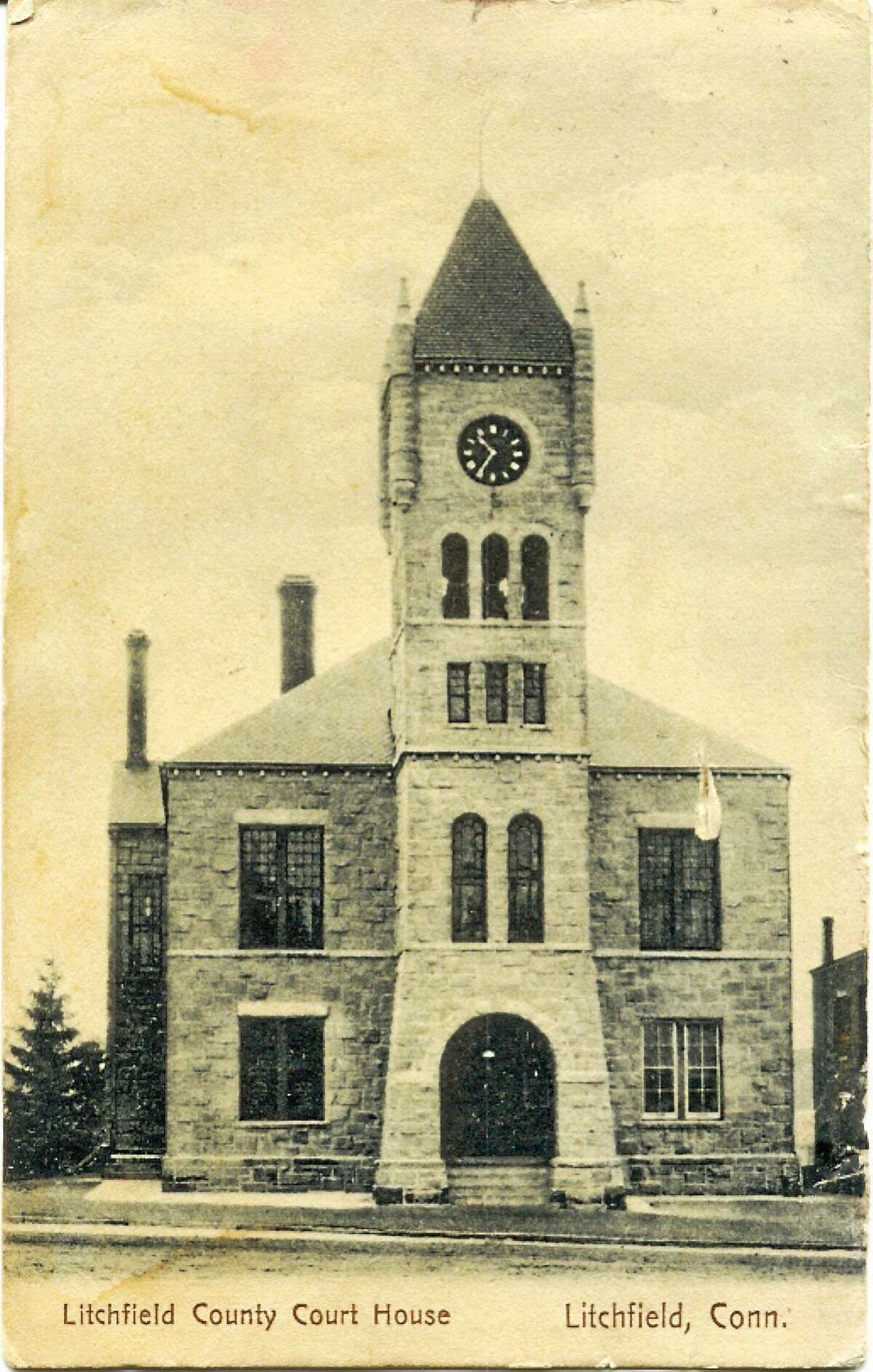 The Litchfield Judicial District Courthouse as seen from a 1908 postcard.
