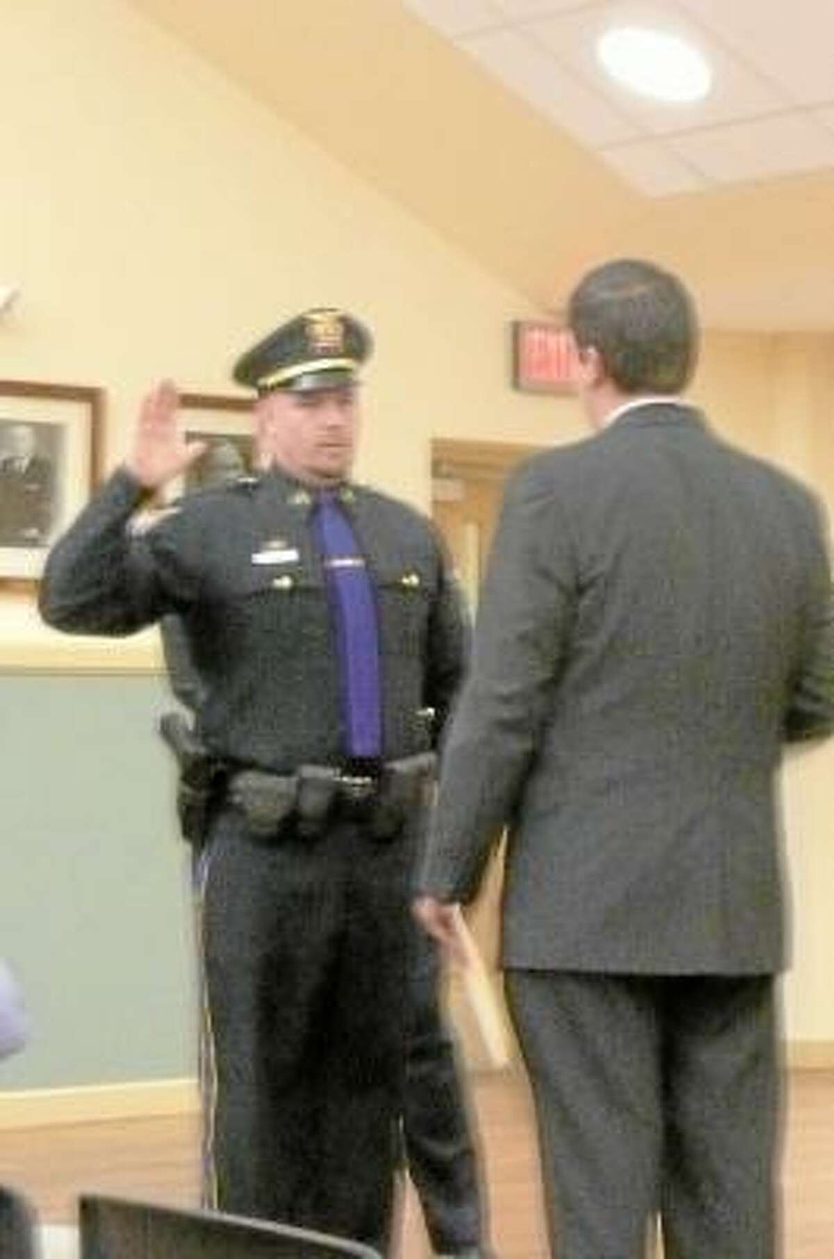 Gregory Wityak was promoted to Sergeant at Board of Public Safety meeting.