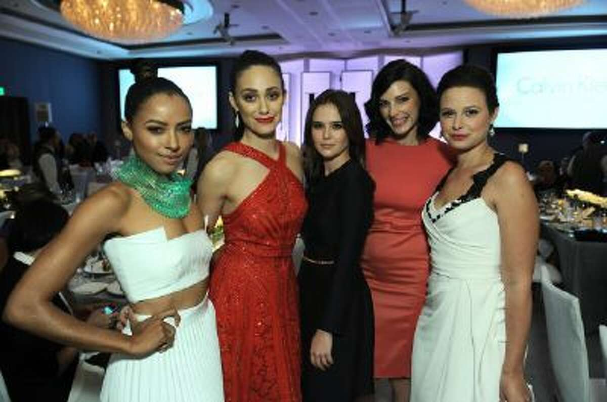 From left, actresses Kat Graham, Emmy Rossum, Zoey Deutch, Jessica Pare and Katie Lowes attend the ELLE 20th annual