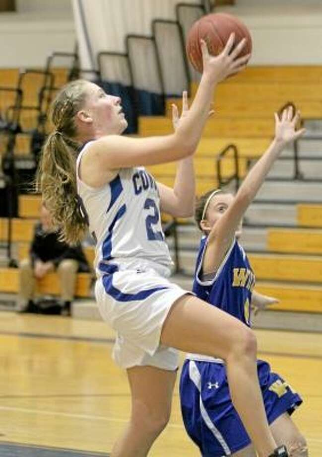 Litchfield's Tara Shakley makes a layup in her team's 59-39 win over Wilcox Tech. Shakley finished with a game-high 21 points and 10 steals.Marianne Killackey/Special to register citizen / 2013