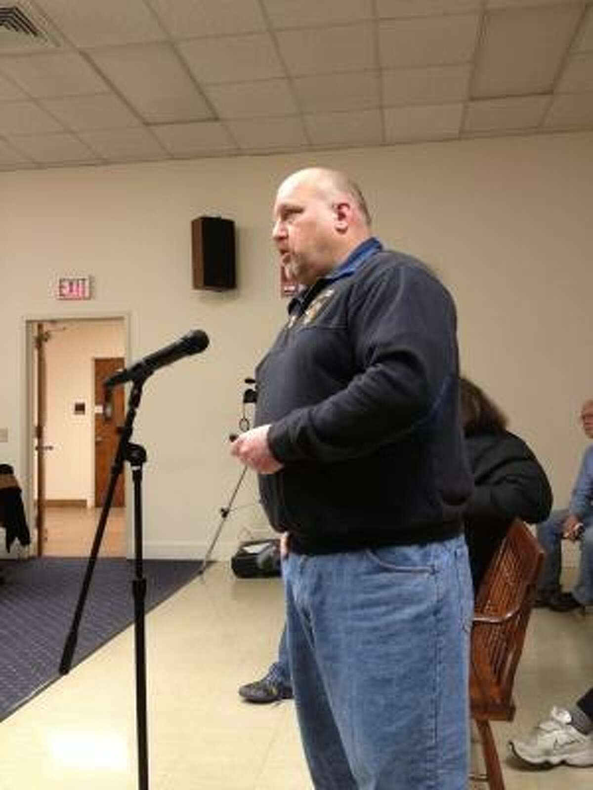 JASON SIEDZIK/Register Citizen Winsted Fire Chief Robert Shopey speaks during Wednesday's Board of Selectmen's meeting. Shopey pointed to the department's aging equipment, gear and facilities as the reasons it needs more funding and support.
