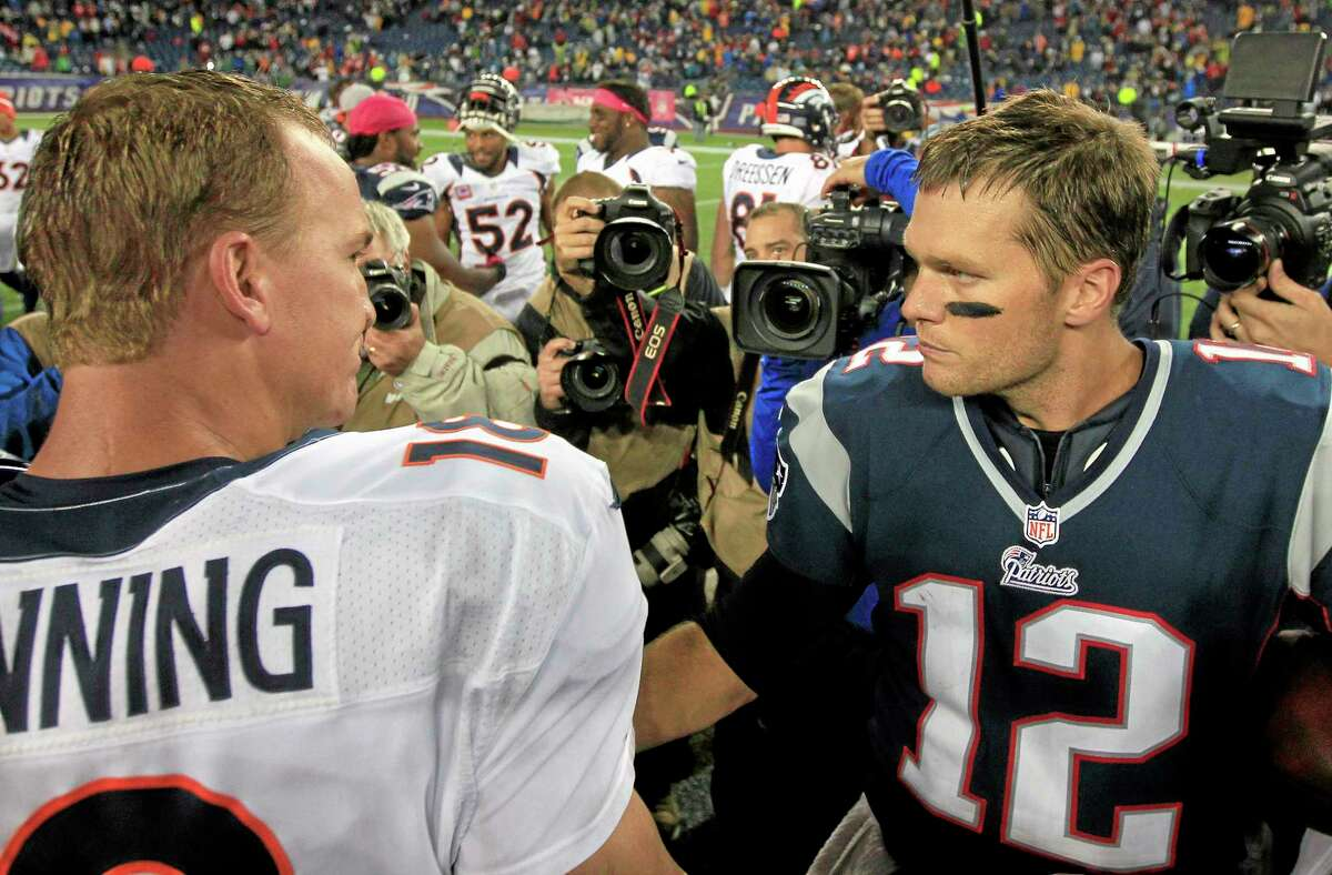 Sunday's meeting between Broncos quarterback Peyton Manning, left, and Patriots quarterback Tom Brady could be the final one of their storied careers.