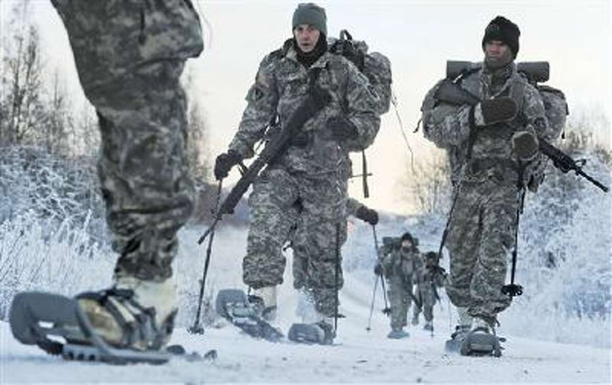 Soldiers assigned to 6th Engineer Battalion utilize snow shoes during Arctic Light Individual Training on the Bulldog Trail in sub-zero conditions at Joint Base Elmendorf-Richardson, Alaska. ALIT is the United States Army Alaska's Cold Weather Indoctrination program. It gives all soldiers, regardless of their job, the foundation to successfully work, train, and go to war in some of the harshest environments in the world.