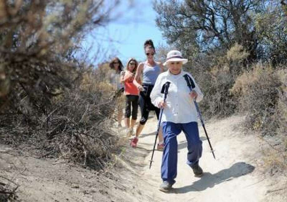 Anne Bedrosian celebrated her 90th birthday with friends and family on a 2.5-mile hike at Serrania Park in Woodland Hills on Thursday, June 13, 2013. (Dean Musgrove/Los Angeles Daily News)