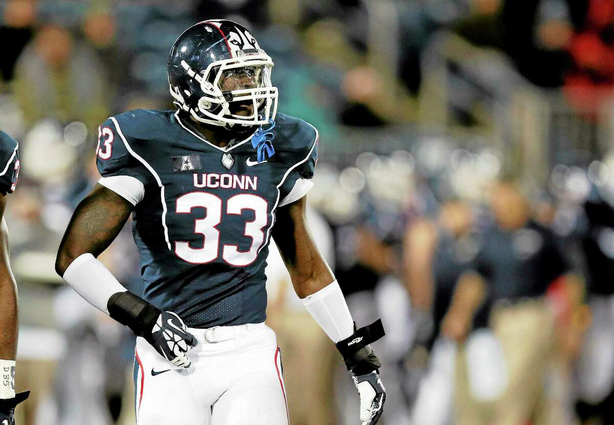 UConn linebacker Yawin Smallwood was taken by the Atlanta Falcons in the seventh round of the NFL Draft on Saturday.