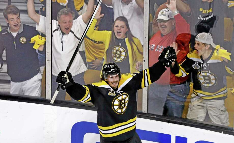 Bruins left wing Loui Eriksson celebrates his goal against Montreal Canadiens during the third period Saturday. Photo: Charles Krupa — The Associated Press  / AP