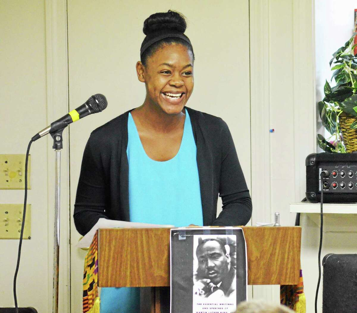 Withney Martin, a senior at Torrington High School, spoke about the legacy of Dr. Martin Luther King Jr Saturday during a celebration of Dr. King.