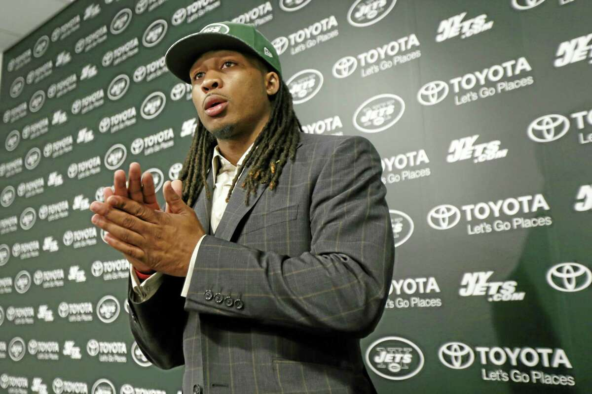 Calvin Pryor, who was drafted by the New York Jets with the 18th pick in the first round of the NFL draft on Thursday, waits for instructions after a news conference on Friday in Florham Park, N.J.