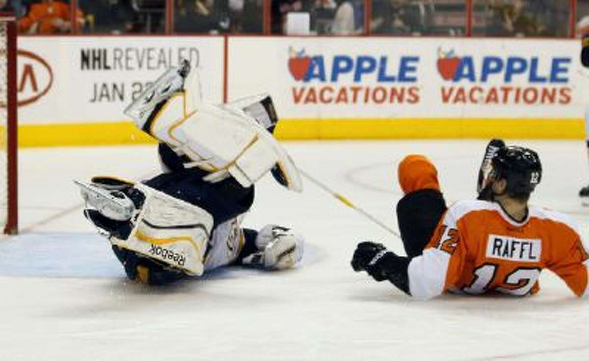 Carter Hutton robs Michael Raffl.
