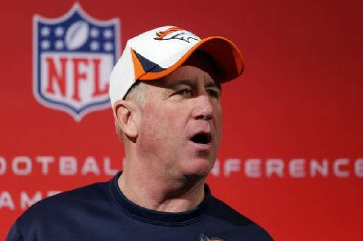 Broncos head coach John Fox speaks to the media the week before the AFC Championship game. Fox nearly died earlier this season.