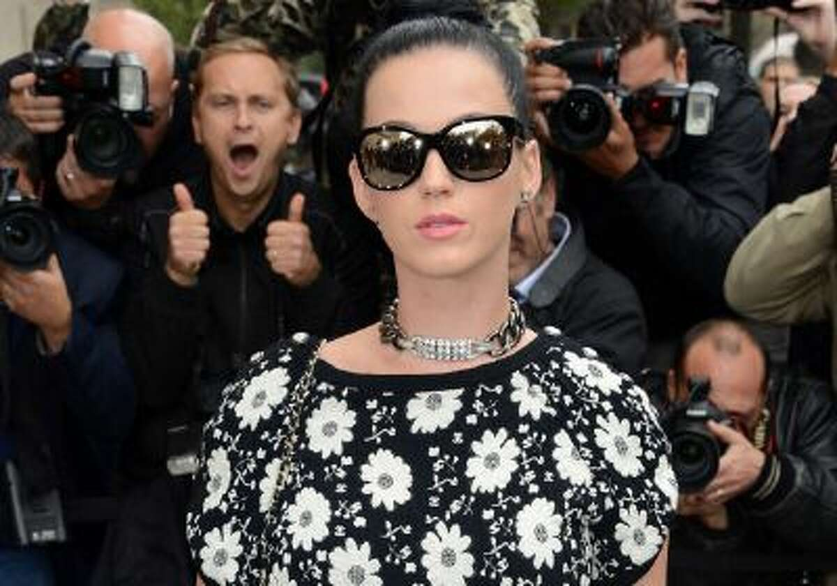 Katy Perry attends the Chanel show as part of the Paris Fashion Week Womenswear Spring/Summer 2014 at the Grand Palais on October 1, 2013 in Paris, France.