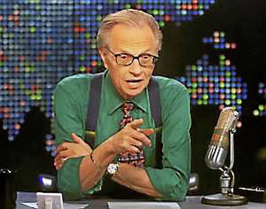 """Larry King is shown on the set of his program """"Larry King Live"""" at the CNN studios in Los Angeles, Thursday, March 17, 2005. Photo: (Rose M. Prouser — The Associated Press)"""