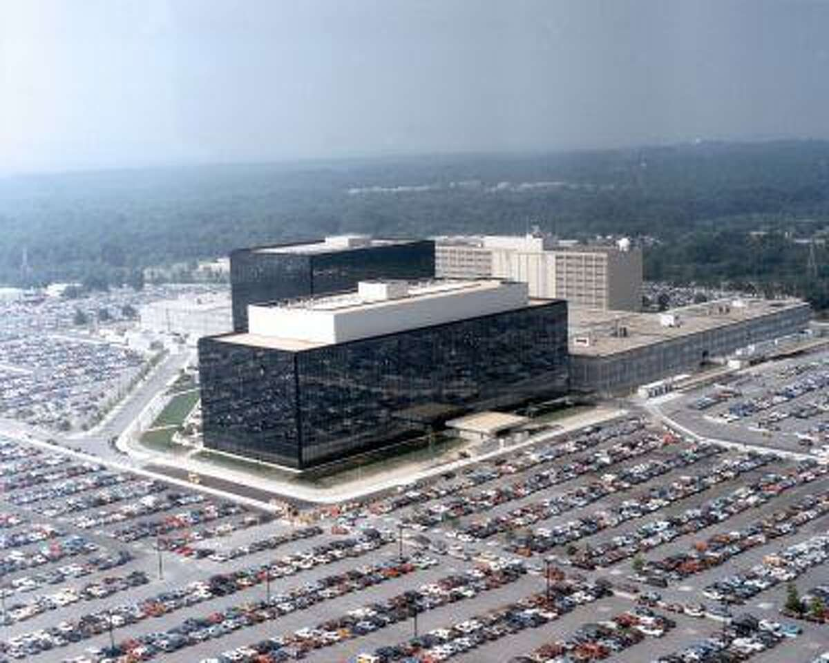This undated US government photo shows an aerial view of the National Security Agency (NSA) in Fort Meade, Md. The Obama administration on Thursday defended the National Security Agency's need to collect telephone records of U.S. citizens, calling such information