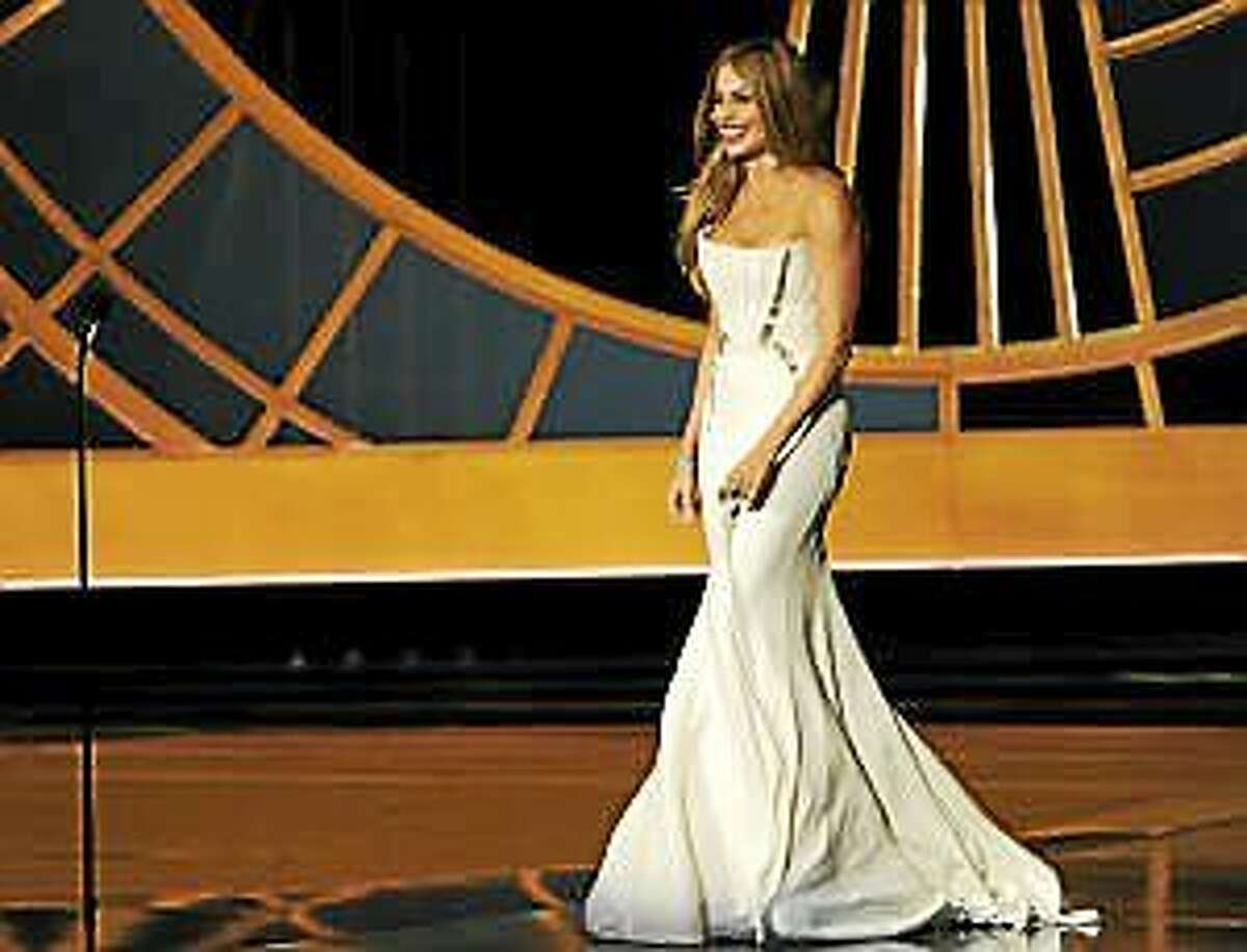 Sofia Vergara is seen on stage at the 66th Annual Primetime Emmy Awards at the Nokia Theatre L.A. Live on Monday, Aug. 25, 2014, in Los Angeles.