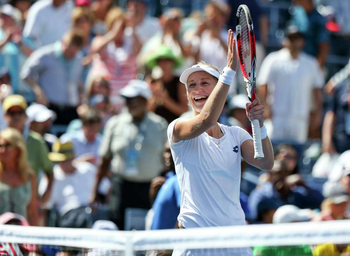 Ekaterina Makarova reacts after defeating Victoria Azarenka in two sets during the quarterfinals of the U.S. Open on Wednesday in New York.