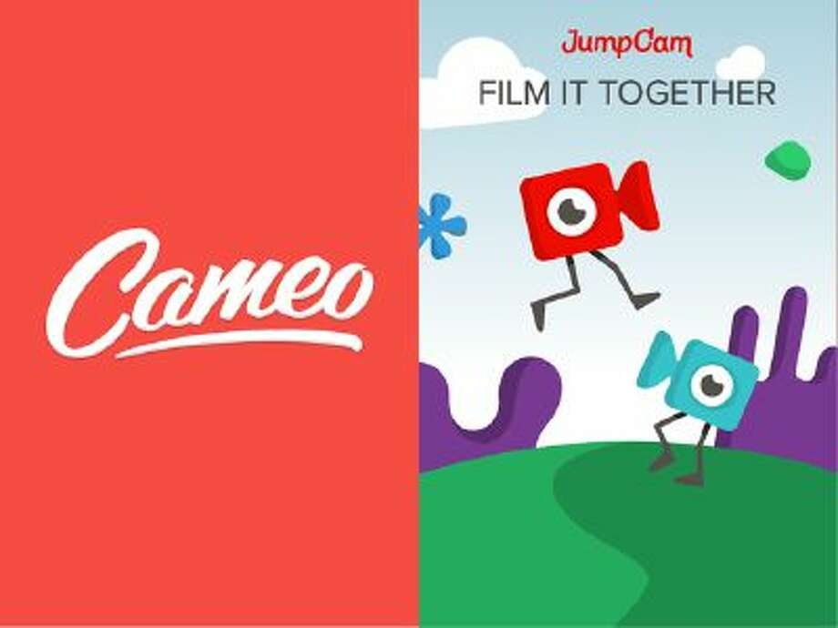 This image is a screenshot of the welcome screens for two mobile video editing apps, Cameo and Jumpcam.