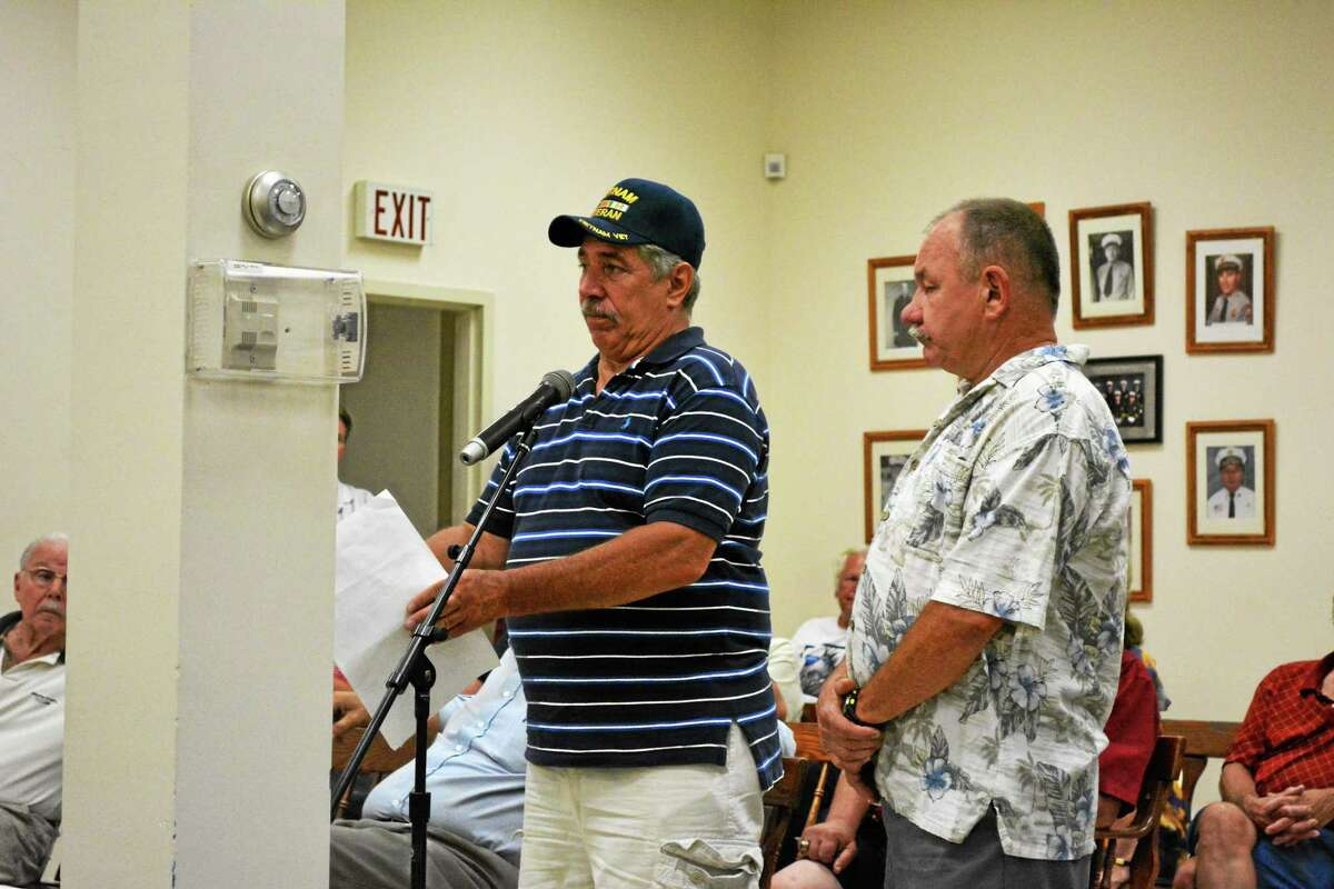 Resident Jay Budahazy (left) and VFW Commander Neil Hunt proposed the idea to rename East End Park during Tuesday's Board of Selectmen meeting.