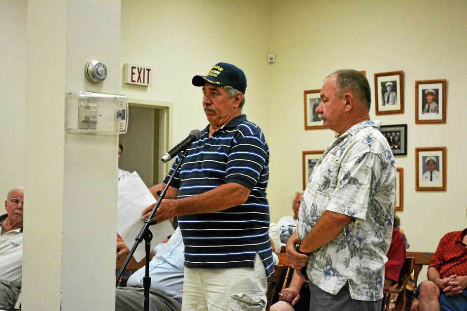 Resident Jay Budahazy (left) and VFW Commander Neil Hunt proposed the idea to rename East End Park during Tuesday's Board of Selectmen meeting. Photo: Ryan Flynn — The Register Citizen