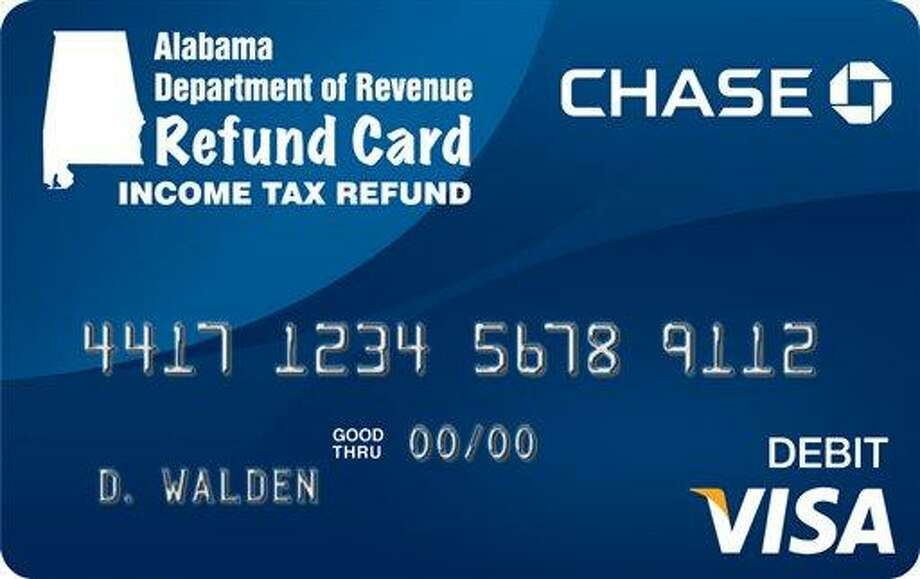 Connecticut taxpayers may opt to get their refunds in the form of debit cards, like this one from Alabama. This photo released by the Alabama Dept. of Revenue pictures a Refund Card that Alabamians can request when they file their income tax.  State Revenue Commissioner Julie Magee says they can choose to get the refund on a Visa debit card rather than by direct deposit or check. Magee says the change should reduce the number of checks that are stolen from mail boxes and fraudulently cashed. The Alabama president of the National Association of Tax Professionals, Shirley Bolt, said people who don't have bank accounts and chose to get the cards will save money because they won't have to pay a check cashing service to process their refund checks. (AP Photo/Alabama Dept. of Revenue Handout) Photo: AP / Alabama Dept. of Revenue