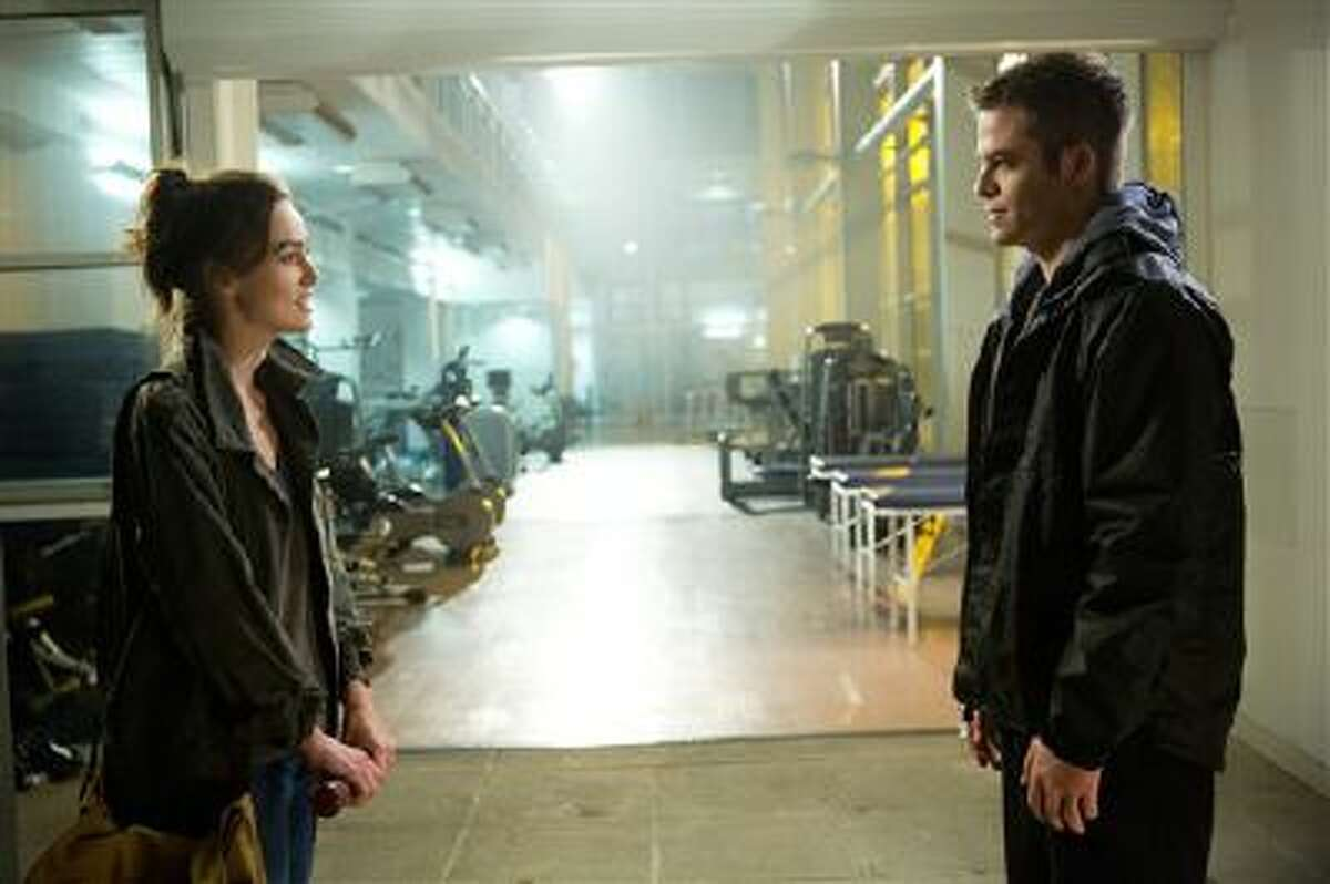 This image released by Paramount Pictures shows Keira Knightley, left, and Chris Pine in