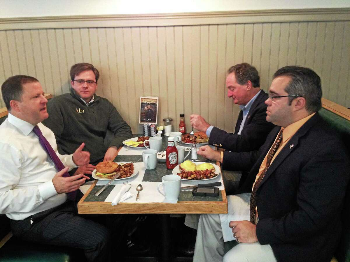 First Selectman Mike Criss met with state Senators Jason Welch (R-31), John McKinney (R-28) and state Rep. John Piscopo (R-76) Friday to discuss Harwinton's budget at the Edison Grill in Harwinton.