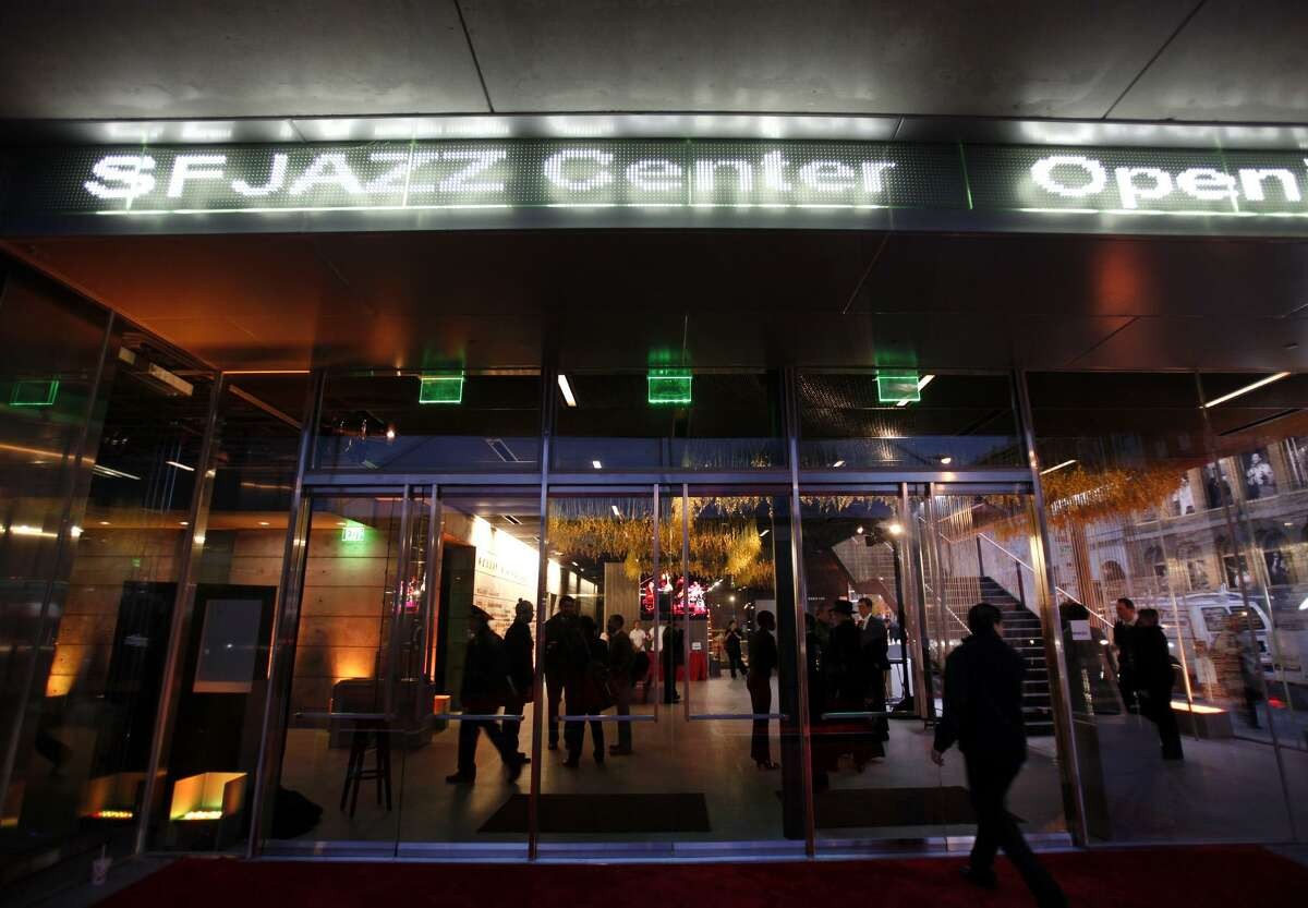 The SFJazz Center prepares to open the doors for its opening night concert Wednesday evening Jan. 23, 2013 in San Francisco. (Karl Mondon/Staff)