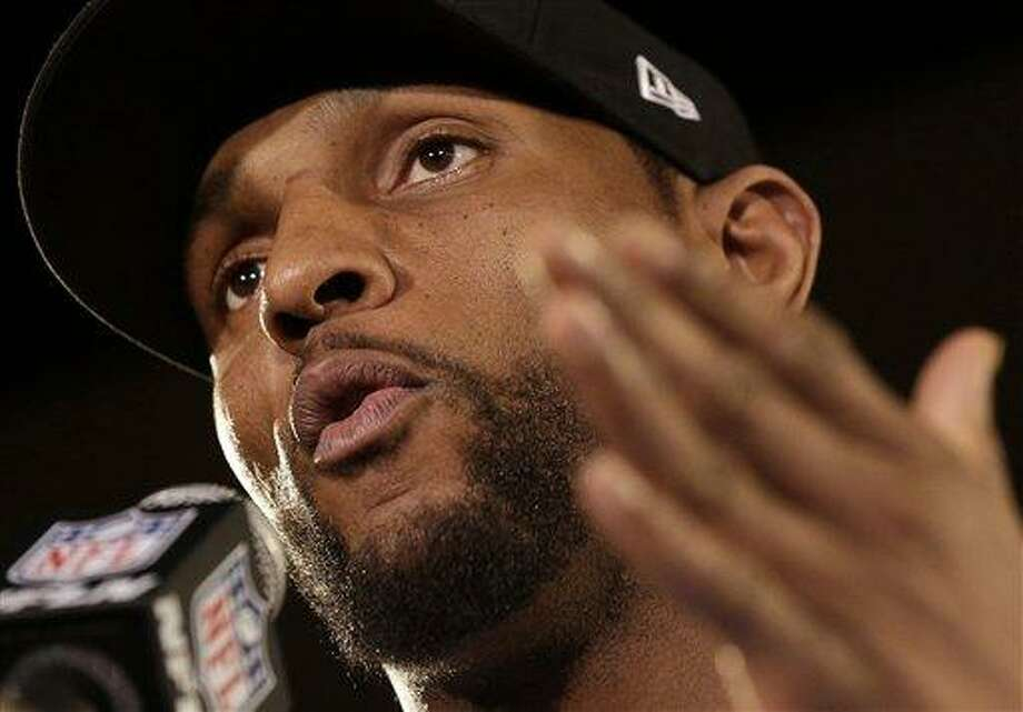 Baltimore Ravens linebacker Ray Lewis speaks during an NFL Super Bowl XLVII football news conference on Wednesday, Jan. 30, 2013, in New Orleans. Lewis denied a report linking him to a company that purports to make performance-enhancers. The Ravens face the San Francisco 49ers in the Super Bowl on Sunday. (AP Photo/Patrick Semansky) Photo: ASSOCIATED PRESS / The Associated Press2013