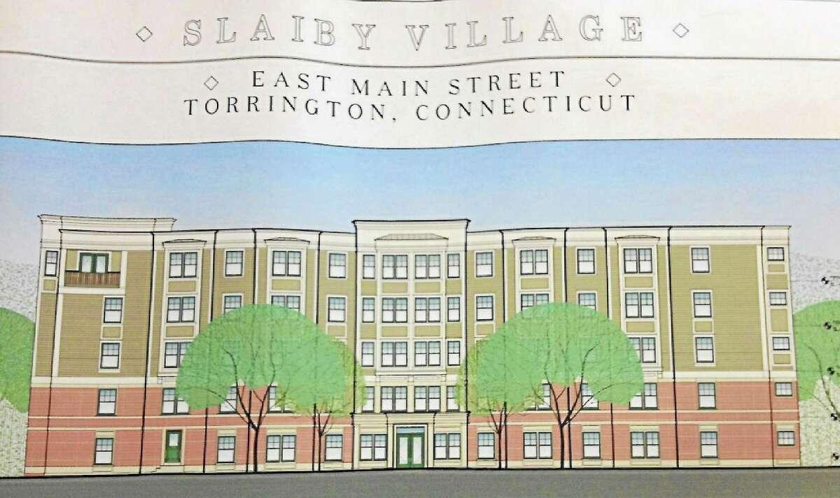 A design schematic of the facade for the proposed 115-unit senior living complex called Slaiby Village on Tucker Drive in Torrington. Esteban L. Hernandez Register Citizen