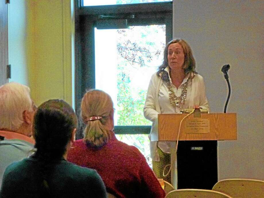 Allison Fulton (pictured) and Heather Sadler facilitated the discussion on substance abuse in the community. Photo: Ryan Flynn—Register Citizen