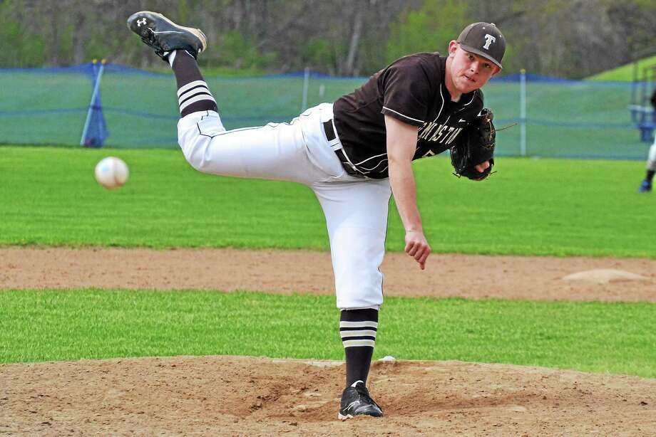 Thomastonís Brian Butkevicius went the distance allowing only three hits and struck out seven batters in the Golden Bearsí 6-0 win over Housatonic. Photo: Pete Paguaga — Register Citizen