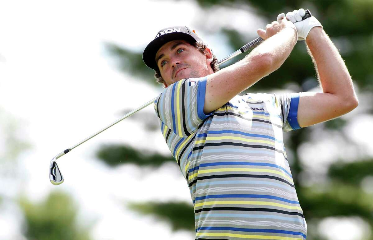 Keegan Bradley hits off the 10th tee during the first round of the Deutsche Bank Championship on Friday in Norton, Mass.