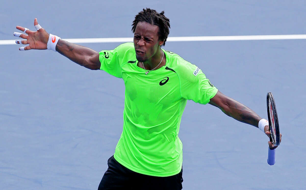 Gael Monfils reacts after defeating Grigor Dimitrov during the fourth round of the U.S. Open on Tuesday in New York.