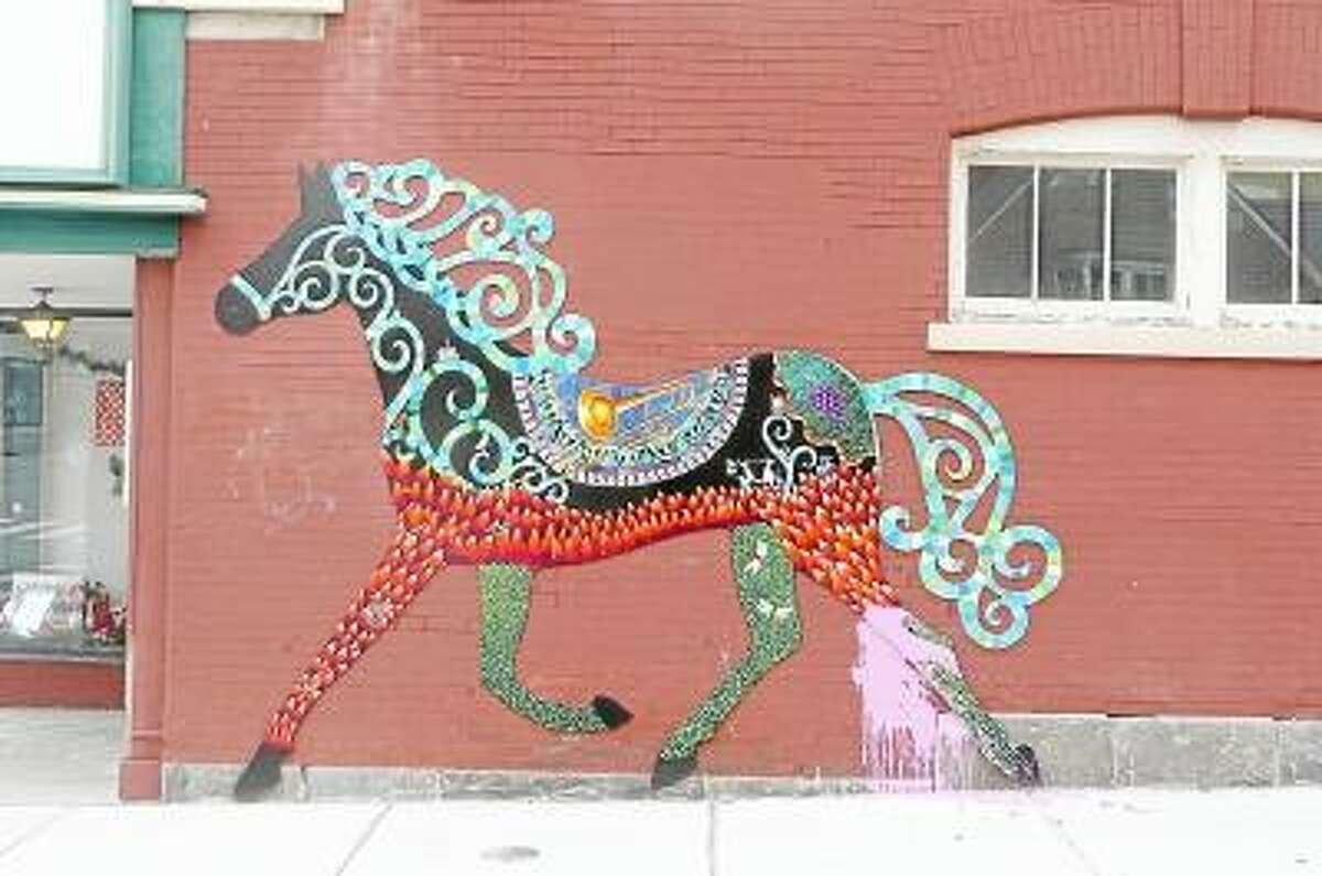A mural of a horse painted by Danielle Mailer was vandalized sometime between Thursday night, Jan. 31, 2013 and Friday, Feb. 1, 2013. Photo: Kate Hartman/Register Citizen.