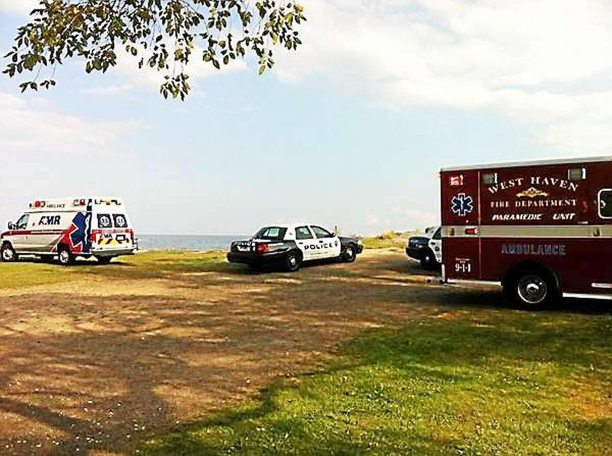 Rescue crews search near Bradley Beach Monday evening.