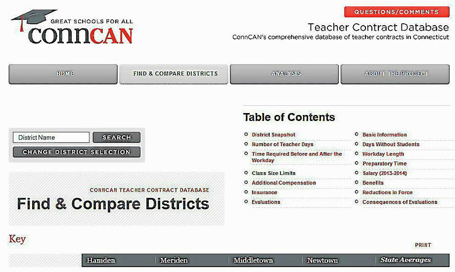 The education advocacy group ConnCAN, the Connecticut Coalition for Achievement Now, launched an updated searchable Teacher Contract Database in early October. Photo: Journal Register Co.