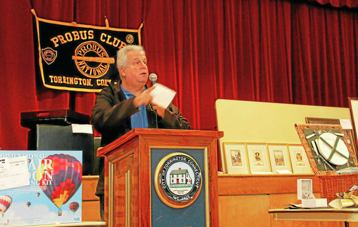 Bob Axelrod of the Probus Club auctions off an item during the Probus-LARC auction on Sunday, Oct. 20, at Coe Memorial Park Civic Center. The money raised at the auction helps local non-profits, including those that support people with learning and physical disabilities.