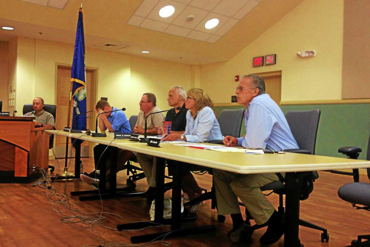 Members of the Board of Finance during a joint finance board and City Council meeting Tuesday in Torrington.