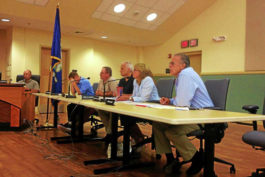 Members of the Board of Finance during a joint finance board and City Council meeting Tuesday in Torrington. Photo: Esteban L. Hernandez — The Register Citizen