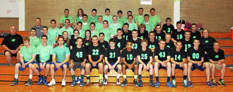 Both the Wolcott Tech and Lewis Mills boys volleyball teams wore green in support of Mental Health Awareness. Photo: Submitted Photo By John J. Dell'Agnese