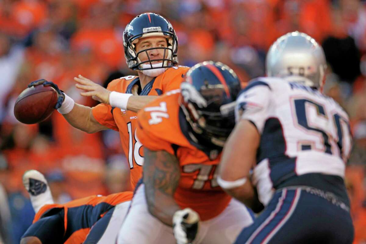 Broncos quarterback Peyton Manning passes during the second half of the AFC championship game against the New England Patriots in Denver on Jan. 19.